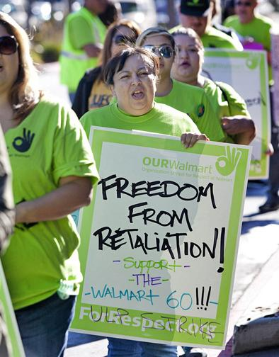 Walmart workers picketing at the Pico Rivera store