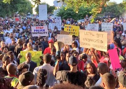 Hundreds of people fill the streets in McKinney, Texas, to protest police brutality