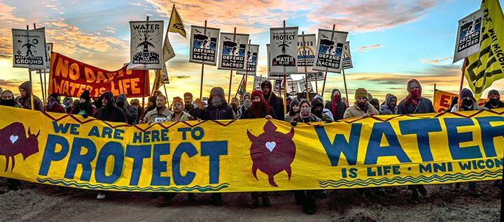 Water protectors at Standing Rock march to stop the Dakota Access Pipeline