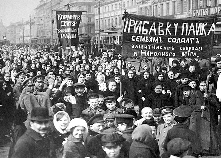 Workers in the streets of Petrograd to demand an end to the war during the February Revolution
