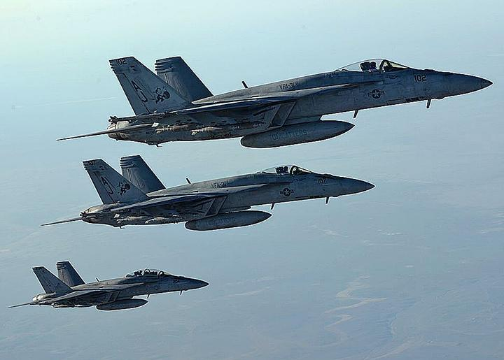 U.S. fighter jets return from an air strike against Islamic State in Iraq and Syria targets