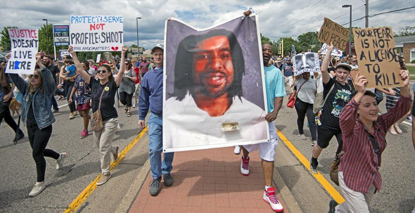 Marchers take to the streets after the acquittal of the police officer who killed Philando Castile