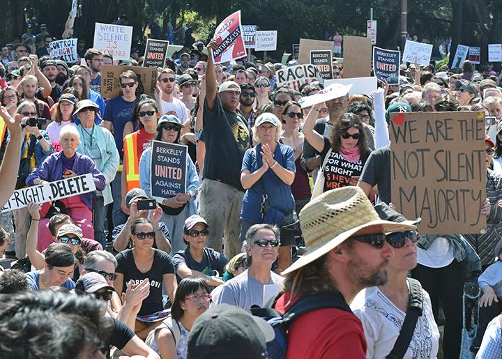 Thousands come out to protest the far right in Berkeley