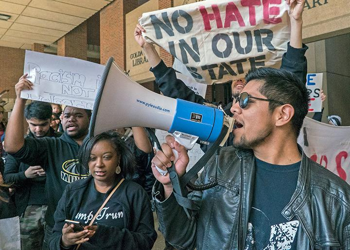 Students stand up to Trump's racism at the University of Wisconsin-Milwaukee