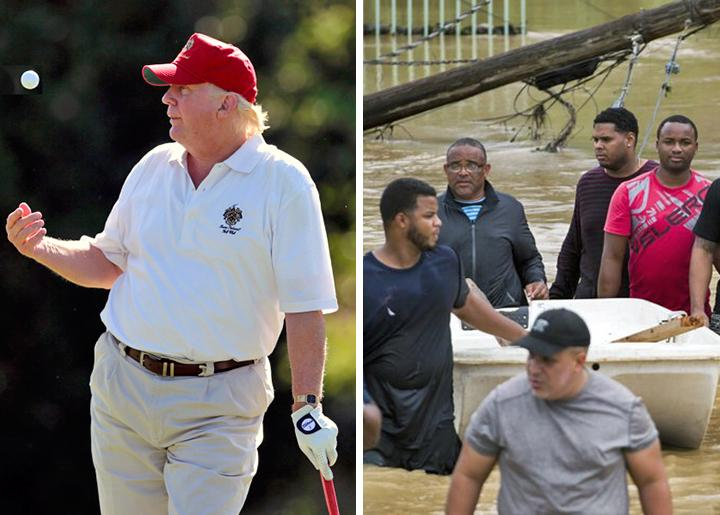 Left: Trump on the golf course; right: Flooding in Puerto Rico