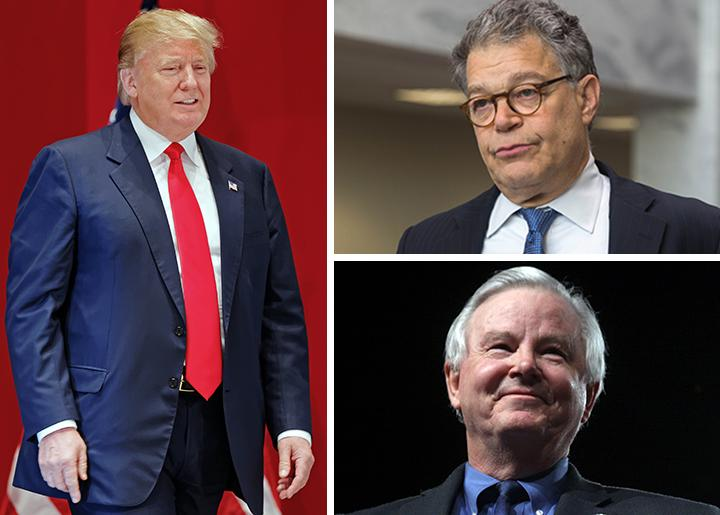 Clockwise from left: Donald Trump, Al Franken and Joe Barton
