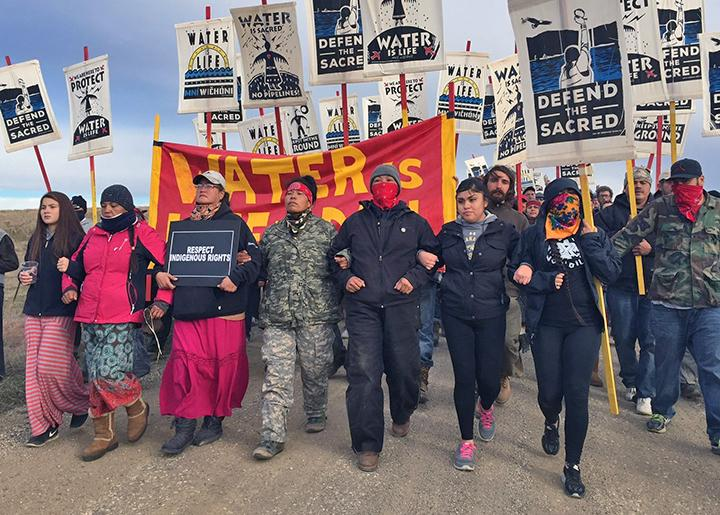 Activists march against the Dakota Access Pipeline in Standing Rock, North Dakota
