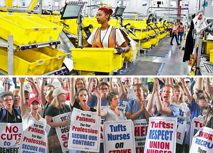 Top: Inside an Amazon warehouse; bottom: Nurses on strike at Tufts Medical Center