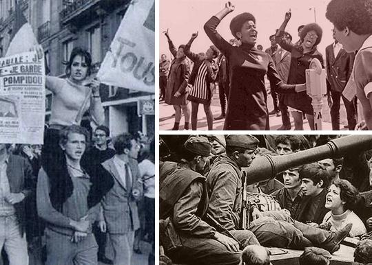 Clockwise from left: Students in the streets of Paris; a Black Panthers protest; Czech demonstrators confront soldiers