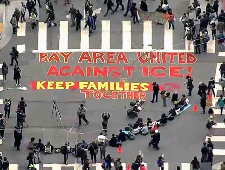 Immigrant rights activists in the Bay Area stage a sit-in against ICE terror