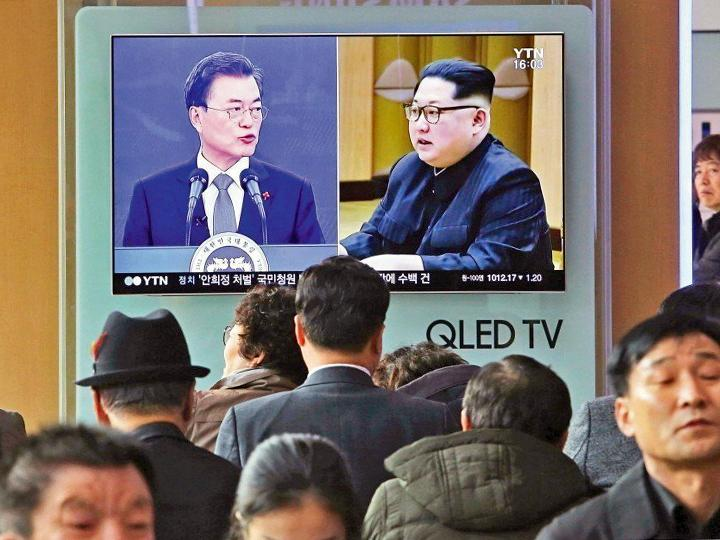 South Korean television station YTN broadcasts news about the ongoing peace talks