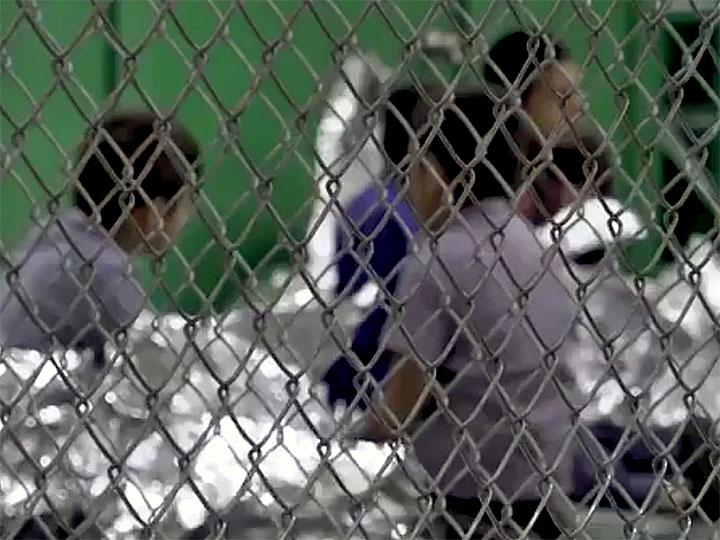 Migrant children held in cages at a detention center in McAllen, Texas