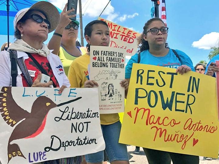 Protesters demand an end to family separation and child detention in McAllen, Texas