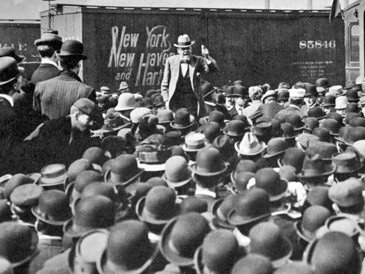 Eugene V. Debs speaks during his 1912 presidential campaign