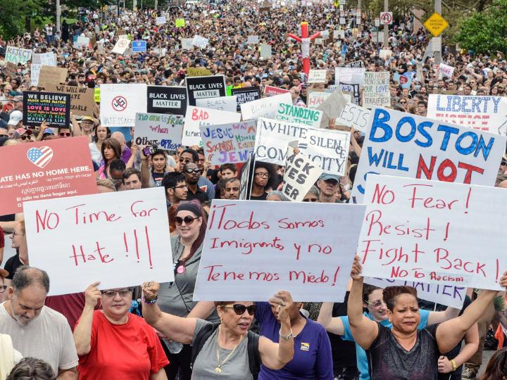 A massive mobilization opposed the far right in Boston