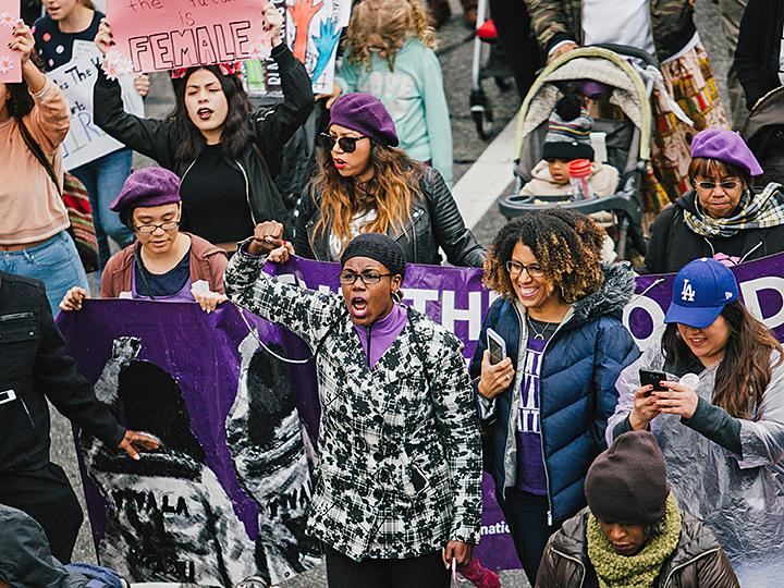 Protesters take to the streets of Los Angeles on International Women's Day