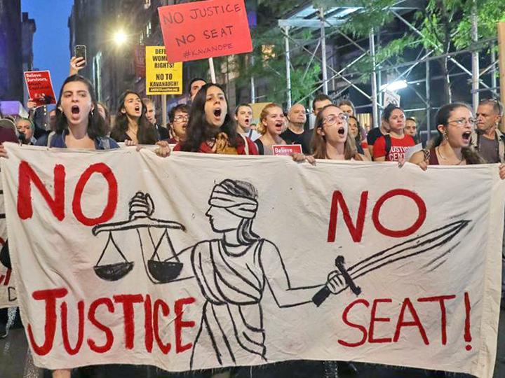 Protesters march through Manhattan against Brett Kavanaugh's nomination