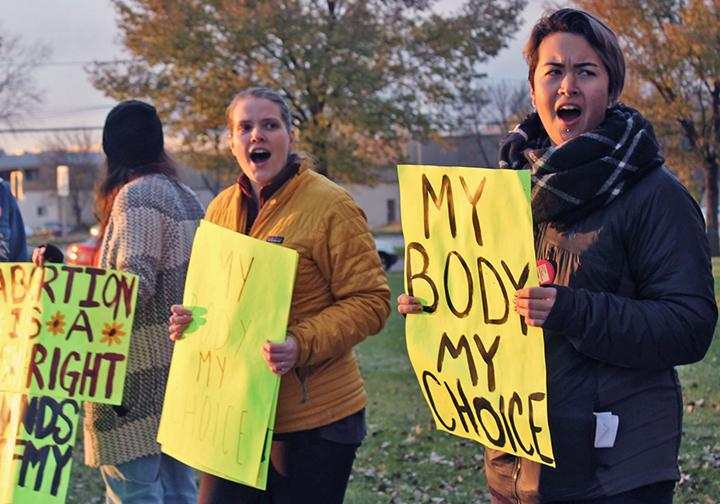 Activists defend a Planned Parenthood clinic in Madison, Wisconsin