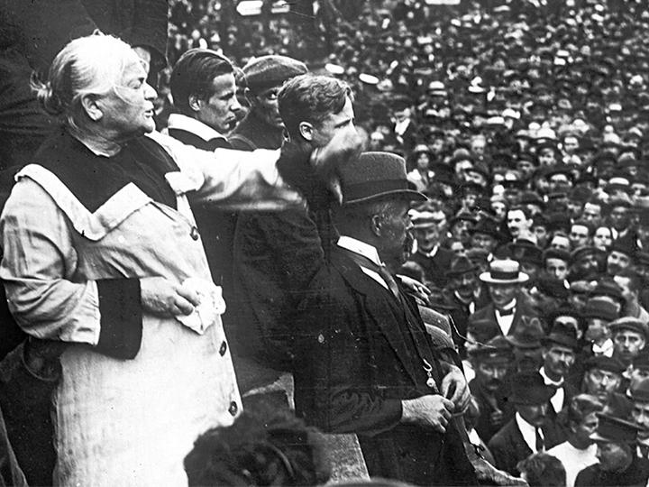 Revolutionary socialist Clara Zetkin addresses a mass demonstration