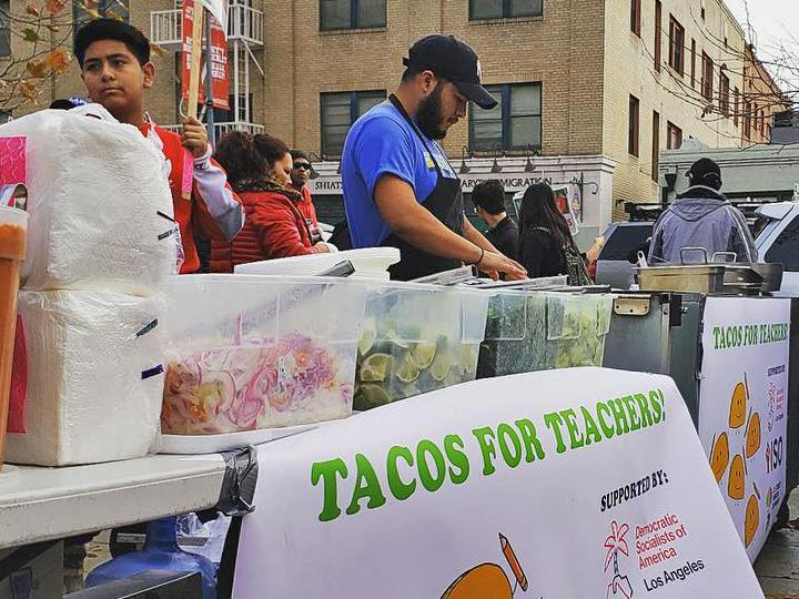 Tacos for Teachers on the picket line in Los Angeles