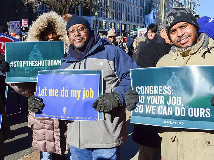 Federal workers rally against Trump's shutdown