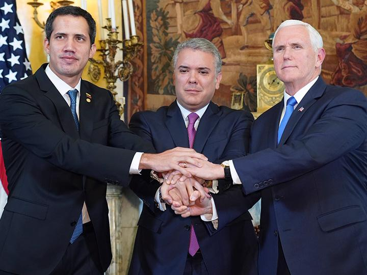 Left to right: coup leader Juan Guaidó, Colombian President Iván Duque and Vice President Mike Pence