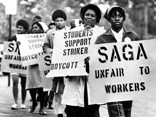 UNC dining-hall workers during their strike in 1969 after SAGA took over