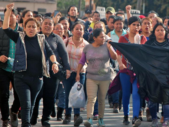 Striking workers take to the streets of Matamoros, Mexico