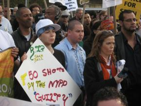 "Following the ""not guilty"" verdict in Sean Bell's case, more than 200 people marched through Harlem in protest, April 26, 2008"