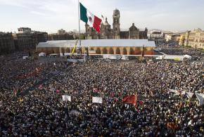 Supporters of Mexican reform presidential  candidate Andrews Manuel Lopez Obrador at a rally against privatization of the state-owned oil company in March 2008