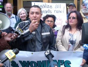 Francisco, a restaurant worker, speaks out against ICE raids before May 27 immigration hearings; next to him is Renee Saucedo of La Raza Centro Legal