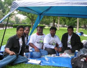 Indian guest workers begin a hunger strike across from the White House