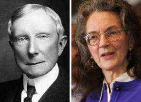 Left: oil baron John D. Rockefeller; right: modern-day robber baron Neva Rockefeller Goodwin