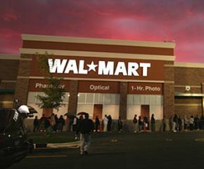Wal-Mart store at sunset