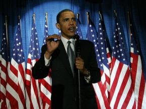 Barack Obama at a campaign appearance