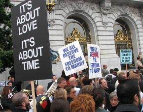 A crowd gathered outside San Francisco's City Hall to celebrate the first same-sex marriages