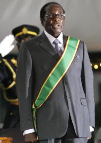 Robert Mugabe at his presidential swearing-in ceremony after winning a run-off election against an opponent who withdrew