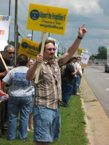 Rally in support of the Freightliner Five in North Carolina