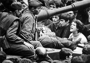Even after the invasion of Czechoslovakia, students and youth remained in the streets to argue with soldiers