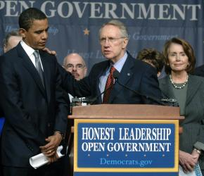 Sen. Barack Obama, Sen. Harry Reid and Rep. Nancy Pelosi