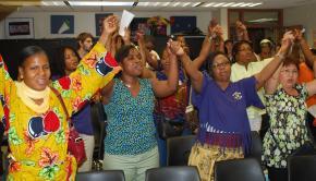 Kingsbridge Heights Nursing Home workers at a screening of Sicko