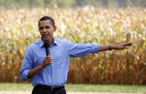 Barack Obama addresses supporters at a campaign stop