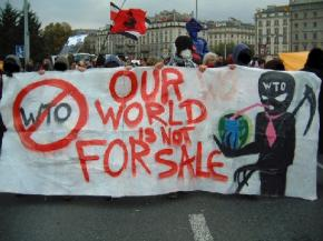 Protesters march against the World Trade Organization