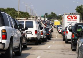 Traffic away from the Gulf Coast was snarled for dozens of miles during the evacuation