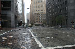 Hurricane Ike tore through downtown Houston, blowing out the windows in many buildings
