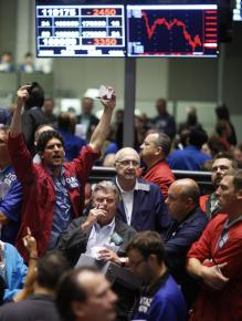 "Traders watch as the stock market plummets during ""Black September"""