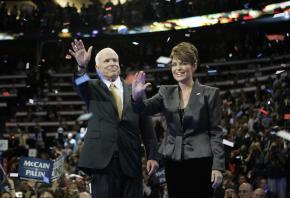 Running mate Sarah Palin joins John McCain onstage at the Republican convention
