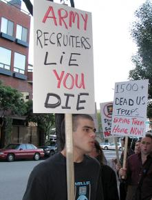 Antiwar activists picket the main military recruiting center in San Francisco