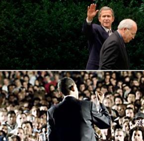 Above, George Bush and Dick Cheney; below, Barack Obama