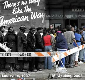 Lining up for food aid in 1937 and 2008